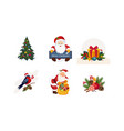 collection of christmas objects new year holiday vector image vector image