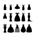 collection silhouettes of black dresses on white vector image vector image