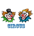 Colorful circus clowns characters vector image vector image