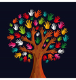 Colorful solidarity tree hands vector image vector image