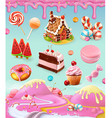 Confectionery and desserts cake cupcake candy vector image vector image