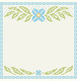 Cross-stitch embroidery - flowers and leaves vector image