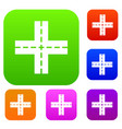 crossing road set collection vector image vector image