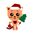 cute cat with christmas tree and new year ball vector image