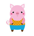 cute pig children style isolated design element vector image vector image