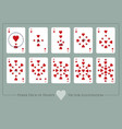 deck hearts from ace to ten hearts deck of vector image