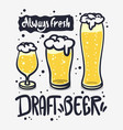 draft beer hand drawn design on a white vector image