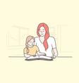 education family reading teaching motherhood vector image vector image