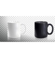 empty white and black mugs vector image vector image