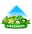 Food logo with fresh vegetables vector image
