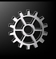 gear sign gray 3d printed icon on black vector image vector image