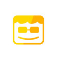 geek box smile square shape yellow symbol design vector image
