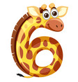 giraffe on number six vector image
