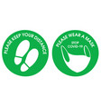 green round sticker keep your distance and please vector image vector image