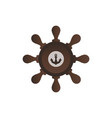helm boat steering wheel with anchor icon vector image