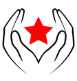 icon - hands holding red star vector image vector image