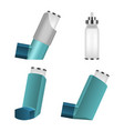 inhaler icon set realistic style vector image