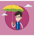 Insurance agent with umbrella vector image vector image