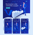 isometric businessman control like a puppet vector image