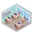 isometric office interior vector image vector image