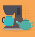 kitchen teapot and coffee maker utensil icon vector image vector image