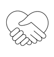 linear heart made hands icon vector image