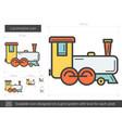 locomotive line icon vector image vector image