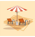 lungers under umbrella icon summer sea vacation vector image