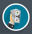 money in hands vector image vector image