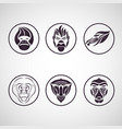 monkey logo icon set vector image