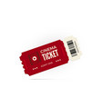 movie ticket red cinema ticket isolated on white vector image vector image