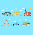neighborhood with homes and churches vector image vector image