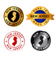 new jersey badges gold stamp rubber band circle vector image vector image