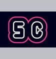 pink white blue alphabet combination letter sc s vector image vector image