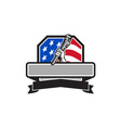 Plumber Hand Holding Pipe Wrench USA Flag Crest vector image