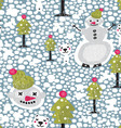 Polar Bear and Snowman Background vector image vector image