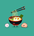 ramen chopsticks cute funny image vector image