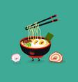 ramen chopsticks cute funny image vector image vector image