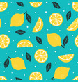 seamless pattern lemon isolated on blue background vector image vector image
