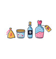 set colorful jars and bag with magic potion vector image