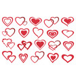 set of decorative red heart icon vector image