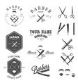 set vintage barber shop design elements vector image