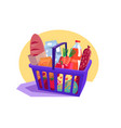shopping basket full fresh groceries vector image