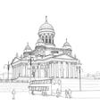 sketch cathedral in helsinki vector image vector image