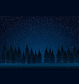 starry night falling snow christmas trees forest vector image