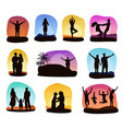 sunset people silhouette of family or vector image