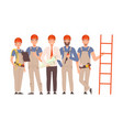 team builders in gray overalls and blue shirts vector image vector image