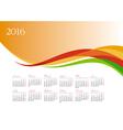 Template of 2016 calendar on orange background vector image vector image