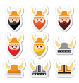 Viking warrior in helmet icons set vector image vector image