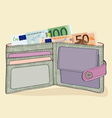 wallet with 50 and 100 Euro bills vector image vector image